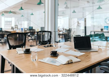 Interior Of A Modern Office Boardroom With No Staff