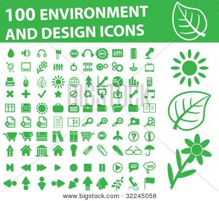 100 environment and design icons - vector