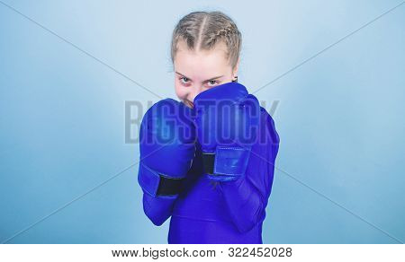 Girl Cute Boxer On Blue Background. With Great Power Comes Great Responsibility. Boxer Child In Boxi