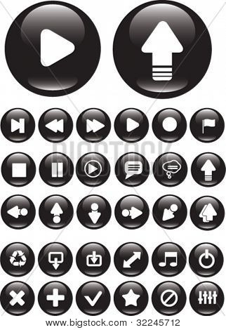 30 black media buttons. vector