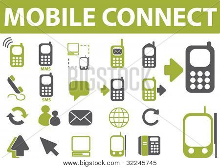 mobile connect icons. vector