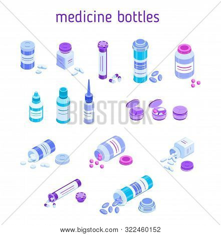 Set Of Various Pill Bottles. Round And Square Jars For Tablets. Closed And Lying With Open Caps And