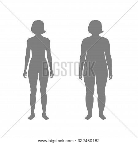 Vector Isolated Illustration Of Different Figure Shape Woman Silhouette. Isolated Black Illustration