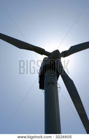 Wind Turbine Against Sunlight