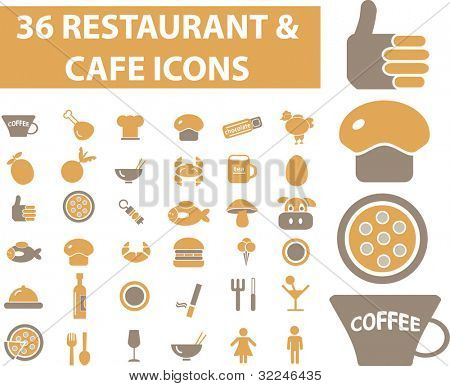 36 restaurant & cafe icons. vector
