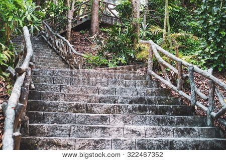 Ladder On The Way Up The Mountain. Stone Old Or Traditional Medieval Staircase. Way Up.
