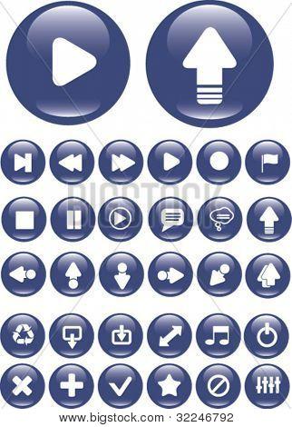 30 media buttons. vector