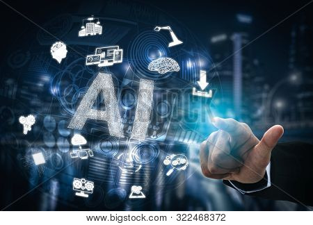 Ai Learning And Artificial Intelligence Concept.