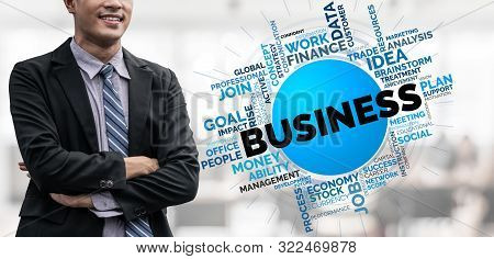 Business Commerce Finance And Marketing Concept. Words Cloud Of Keywords Related To Financial Analys