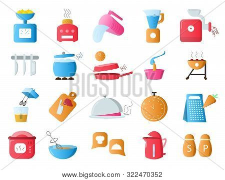 Large Set Of 20 Different Colorful Restaurant Icons Showing Utensils, Appliances, Food, Cookware, Eq