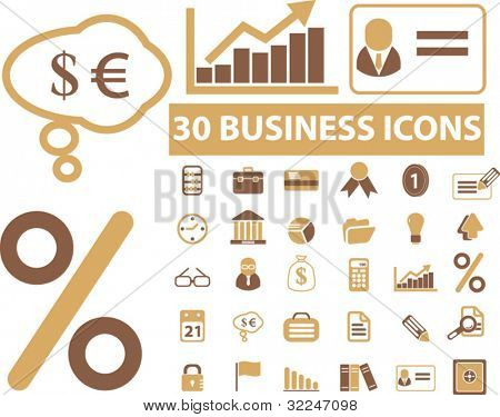 30 brown business icons. vector
