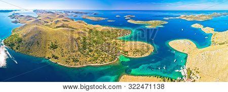 Amazing Kornati Islands National Park Archipelago Panoramic Aerial View, Landscape Of Dalmatia, Croa