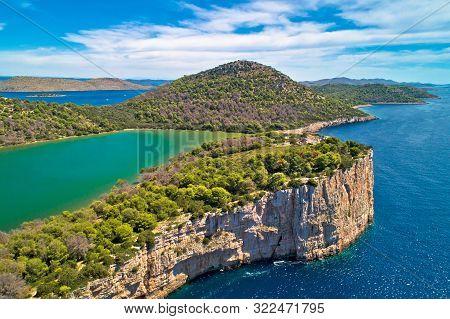 Telascica Nature Park And Green Mir Lake On Dugi Otok Island Aerial View, Kornati Archipelago Nation