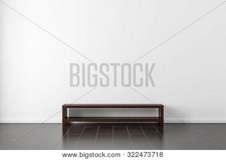Dark Wooden Tv Console Bureau Mockup Near White Wall In Empty Living Room, 3d Rendering