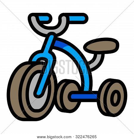 Blue Tricycle Icon. Outline Blue Tricycle Vector Icon For Web Design Isolated On White Background