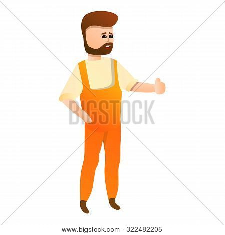 Bearded Locksmith Icon. Cartoon Of Bearded Locksmith Vector Icon For Web Design Isolated On White Ba