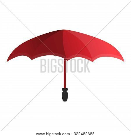 Red Umbrella Icon. Cartoon Of Red Umbrella Vector Icon For Web Design Isolated On White Background