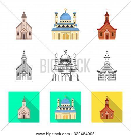 Vector Design Of Cult And Temple Symbol. Set Of Cult And Parish Stock Vector Illustration.