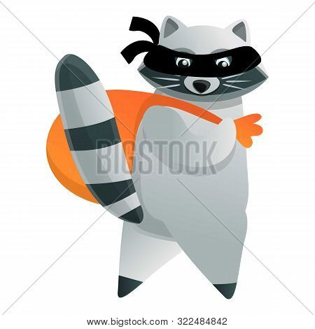 Raccoon Burglar Icon. Cartoon Of Raccoon Burglar Vector Icon For Web Design Isolated On White Backgr