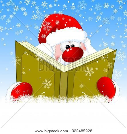 Santa Is Reading A Book On Christmas Eve. Winter Background With Snowflakes. Winter Reading Santa Cl
