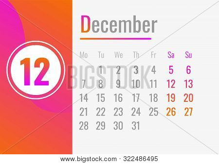 December Calendar 2020 Concept Banner. Cartoon Illustration Of December Calendar 2020 Vector Concept