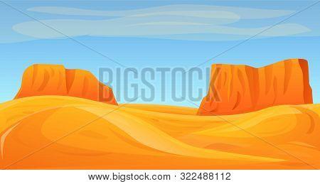 Desert Canyon Concept Banner. Cartoon Illustration Of Desert Canyon Vector Concept Banner For Web De