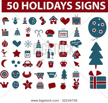 50 holidays signs. vector
