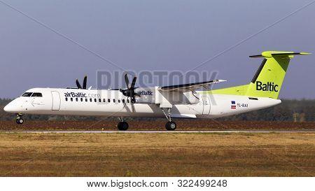 Borispol, Ukraine - September 10, 2019: Yl-bai Air Baltic Bombardier Dhc-8-400 Landing On The Runway