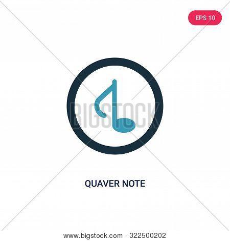 quaver note icon in two color design style.