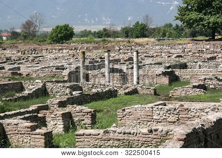 Ruins Of The Ancient Greek City Of Dion In The Region Of Pieria. Greece