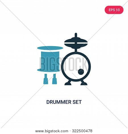 drummer set icon in two color design style.