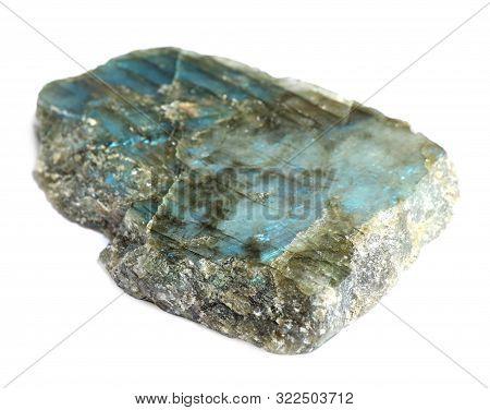 Beautiful Shiny Labradorite Gemstone On White Background