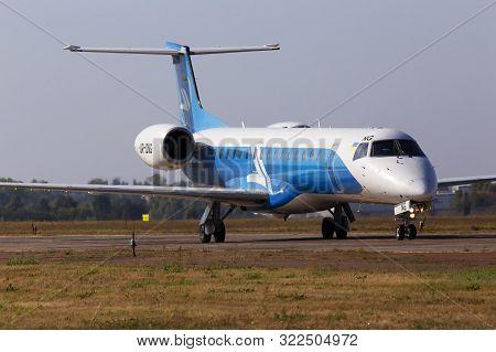 Borispol, Ukraine - September 10, 2019: Ur-dng Wind Rose Aviation Embraer Erj-145 Aircraft Running T