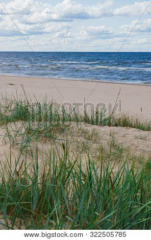 Wild Seashore Of The Baltic Sea With Foam Waves.