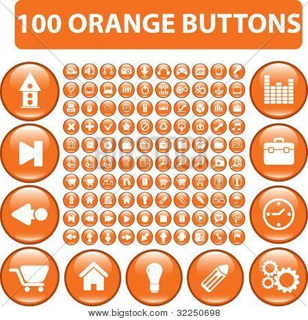 100 orange buttons. vector