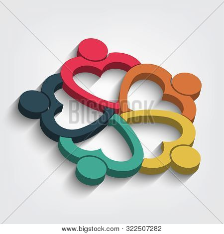 Five People Heart In A Circle Holding Hands.the Summit Workers Are Meeting In The Same Power Room.