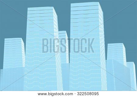 Abstract High Buildings Image. Architectural Drawing 3d
