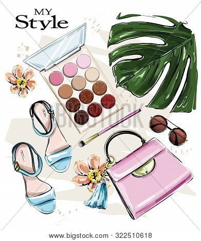 Hand Drawn Cute Set With Cosmetics And Female Accessories. Beautiful Fashion Set With Eyeshadows, Su