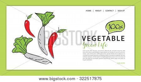 Vegetables banner template vector illustration, vegetable store homepage, web banner,  webpage cartoon concept, Healthy food homepage layout, website poster