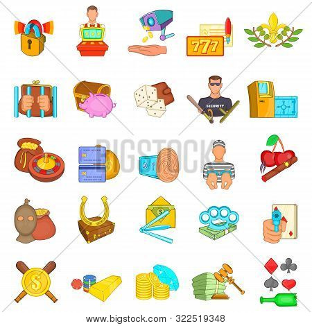 Casino Scammer Icons Set. Cartoon Set Of 25 Casino Scammer Vector Icons For Web Isolated On White Ba
