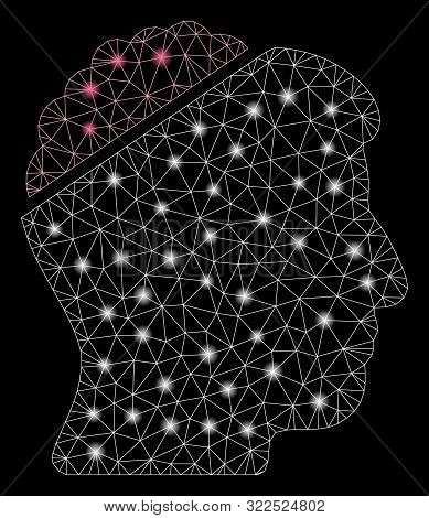 Glowing Mesh Open Mind With Glitter Effect. Abstract Illuminated Model Of Open Mind Icon. Shiny Wire