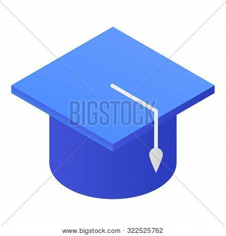 Blue Academic Cap Icon. Isometric Of Blue Academic Cap Vector Icon For Web Design Isolated On White