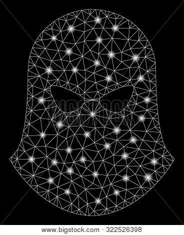 Glowing Mesh Terrorist Balaklava With Lightspot Effect. Abstract Illuminated Model Of Terrorist Bala