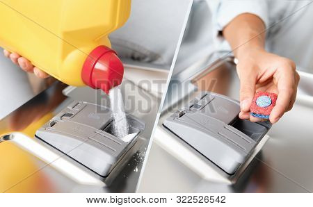 Woman Pour Powder Or Put Tablet Dishwasher Box. Tested Detergents. Type Of Dishwasher Detergent