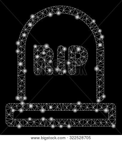 Flare Mesh Tomb With Glitter Effect. Abstract Illuminated Model Of Tomb Icon. Shiny Wire Carcass Tri