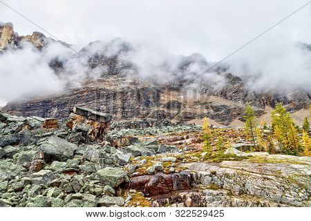 Mount Shaffer At Lake O'hara On Opabin Trail In Yoho National Park