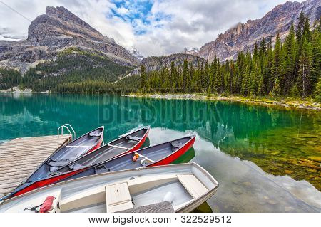 Boats On Dock At Lake O'hara In The Canadian Rockies Of Yoho National Park
