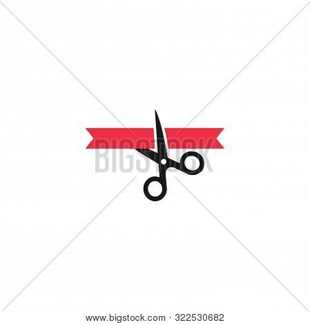 Black Scissors Cutting Red Ribbon, Grand Opening Concept Vector Icon. Inauguration Event Simple Glyp