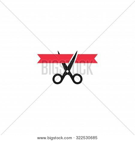Scissors Cutting Red Ribbon, Inauguration Event Vector Symbol. Grand Opening Ceremony Concept Simple