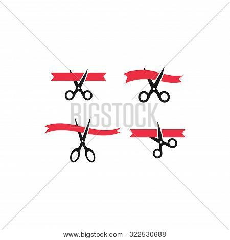 Scissors Cutting Red Ribbon, Inauguration Event Concept Vector Icon Set. Grand Opening Simple Glyph